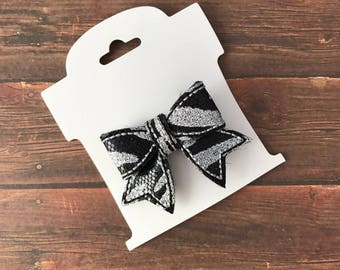 Zebra print, Glitter, Hair Bow,  Hair Clip, Embroidered, Black Ribbon Covered  Alligator Clip, Toddler, Baby, Choose Left or Right Side