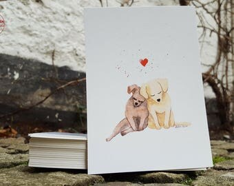 Postcard - dog love - postcard A6