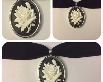 Black Velvet Flower Cameo Choker