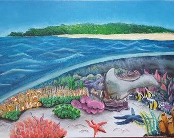 Ocean Reef Acrylic original, 12 by 16