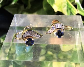 Beautiful Sterling Silver, Blue and Clear Stone Screw Back Earrings