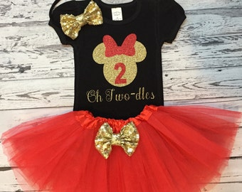 Red Gold and Black Oh Twodles Minnie Mouse 2nd Birthday Outfit, Toodles Birthday Shirt, Red Tutu, Minnie Mouse 2nd Birthday Outfit, Prop