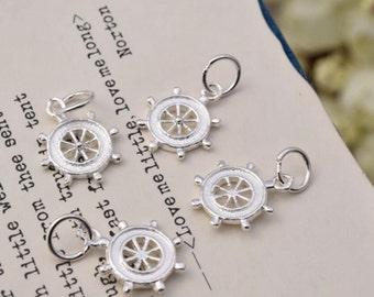 4 pcs sterling silver ship wheel charm captains wheel pendant  charms ,  AY01