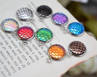 10 of 13mm mermaid scale dragon fish scale round charms silver bezel round pendants