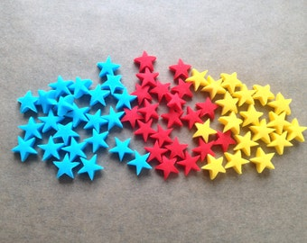 100 Edible Small Superman theme sugar Stars cake cupcake decorations - 1cm - Red,Yellow and Blue