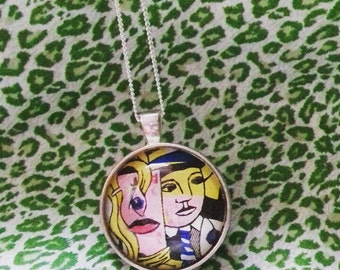 Roy Lichtenstein's 'Stepping out' Pop Art silver pendant necklace