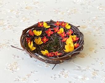 Ring Bearer Pillow Bird Nest Boho Orange Wedding Nest Woodland Autumn wedding bridal accessory Romantic ring holder Wedding bearer pillow