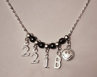 "Sherlock Baker Street Inspired Charm Necklace. 21"" Chain With ""221B""."