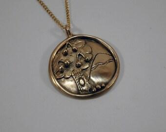 cherry tree necklace handmade in bronze