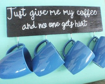 Coffee mug holder -  Coffee mug rack - Coffee cup holder - Coffee bar - Gift for her - Housewarming gift - Mug rack - Rustic kitchen decor