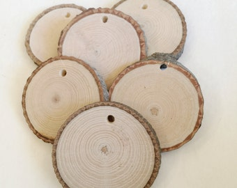"""25 drilled wood slices - 2 to 2.5"""" rustic wood slices"""