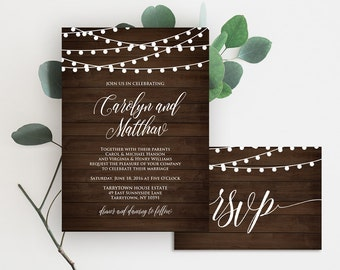 Wedding Invitation Template, Printable Rustic Wood String Lights Invite Set, RSVP, Details, DIY, Instant Download, Editable PDF File #014B