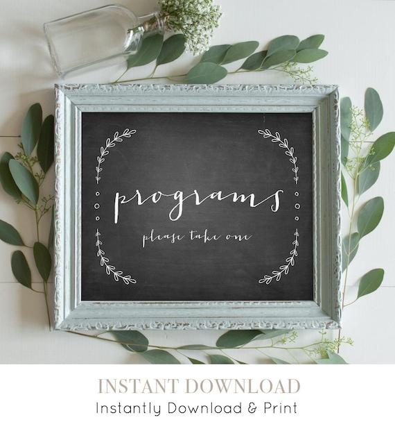 Programs Wedding Sign Download, Printable Wedding Sign, Order of Service, Rustic Laurels Chalkboard, Instant Download, Digital, 8x10 #VC01