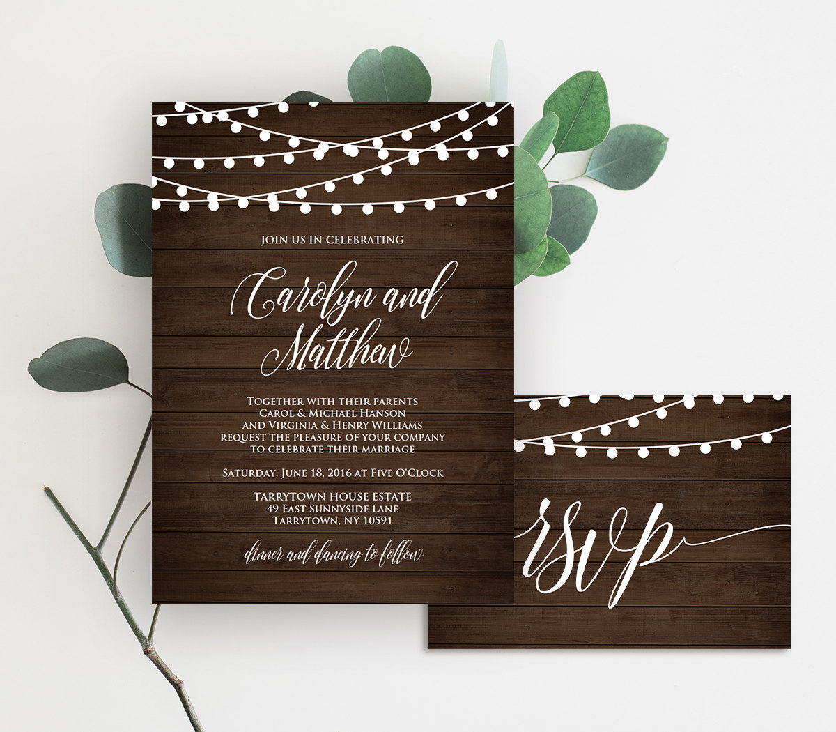 wedding invitation template printable rustic wood string