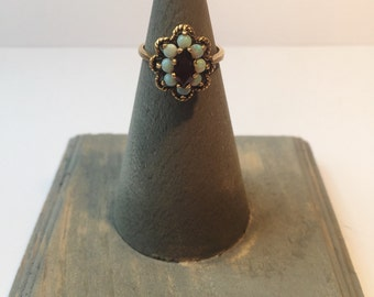 Vintage Estate Natural Garnet and Opal Ring on Intricate 10K Yellow Gold Setting Size 6.25