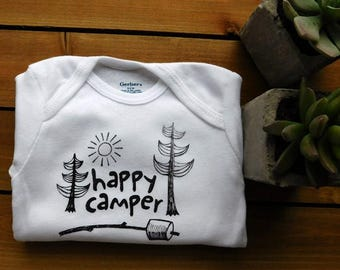 Happy Camper onesie, cute baby, wild one, dream big, new baby, camping, nature lovers, hiking, boho baby, lets go outside, explore, travel