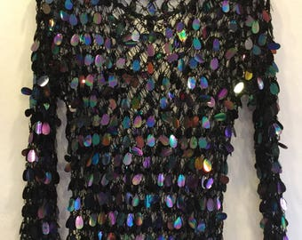 Black Sequin Spangle Cropped Net Vest Size Small