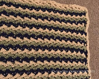 Crochet Baby Blanket / Baby Shower Gift / Nursery Bedding / 36x36 Blanket / Crib Stroller Car Seat / Striped Blanket /