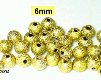 30 acrylic beads yellow Stardust 6mm (K646. 7)