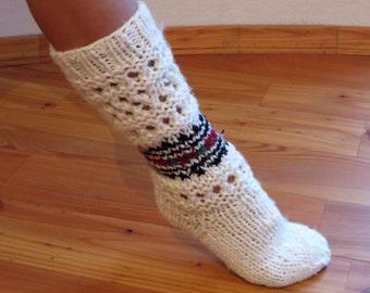 Hand Knit Socks, Wool Socks ,Knitted socks, Knit Wool Socks, Winter Knit Socks,Cable Socks, Bed Socks,Gift for Women, For Girl, Gift For Her