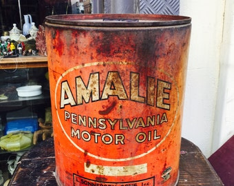 Vintage Amalie 5 gallons motor oil can|big|gift for him|collector|display|pensylvania