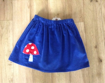 Needlecord skirt with toadstool applique, age 4-6 yrs, blue toadstool skirt