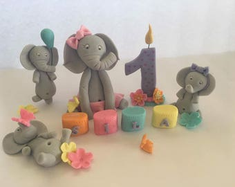 Fondant Elephant and friends birthday set cake toppers