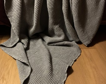 """XXL allrounder bed cover plaid blanket linen mixture Stonewashed-pre-washed Waffle 230 x 265 cm/90,5 """"x104, 3"""" mousy"""
