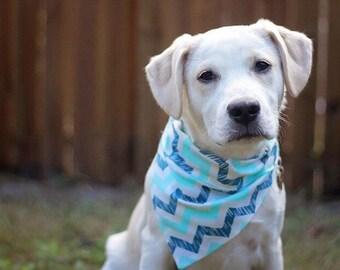 Blue Chevron Dog Bandana