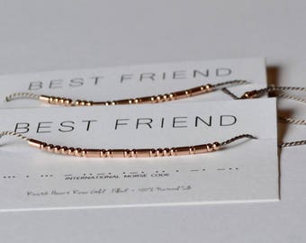 Best Friend Bracelet Set / 2 Matching Rose Gold Morse Code Bracelets / BFF Gift Friendship Bracelets / Best Friends Set / Bestie Friend Gift