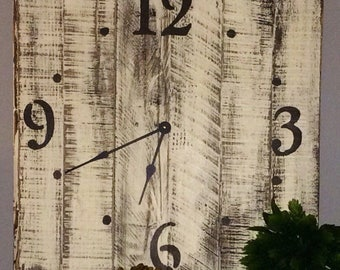 Personalizable Distressed Antique White Wall Clock Created With Salvaged Materials - Choose The Hand Color