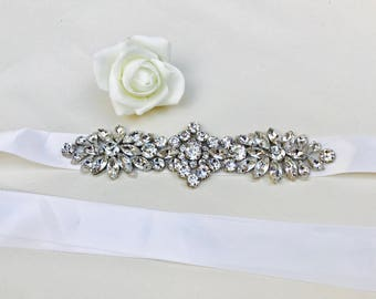 Wedding belt, bridal belt, sash, wedding dress belt, rhinestone appliqué, Ivory ribbon, wedding accessories,  bridal accessories