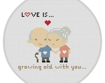LOVE IS...Cross Stitch Pattern Wedding cross stitch Modern cross stitch Couple cross stitch Home decor People cross stitch pattern X081