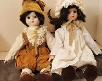 2 Porcelain dolls looking for a  forever home Vintage Porcelain face and hands Twins