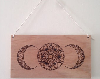 Mandala Moon phase wood burned wall hanging