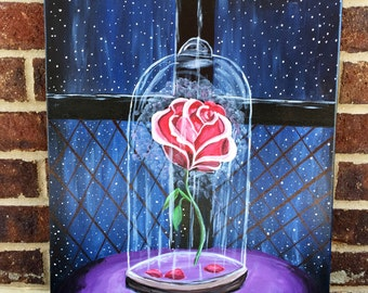 Disney Beauty and the beast rose painting