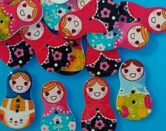 10x Wooden buttons Russian Doll Matryoshka Babushka Childrens coloured Wood beads Sewing material knitting supply craft UK