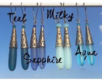Seaglass teardrop earrings with Swarovski crystals brass bead cone dangle and drop earrings