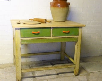 Pine Table with Stripped Top - Pine French Pastry Table - Vintage Table with pull-out shelf - French Country Table  (stock#6231)