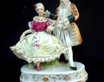 Vintage figurine /Baroque couple china figurine / Hand painted figurine /Porcelain figurine / ceramic figurine / Antique figurine