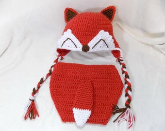 Little Mr. Fox hat and Diaper Cover  Available in Newborn to 24 Month Size- MADE TO ORDER