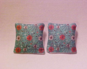 Miniatures Throw Pillows Dollhouse Diggs Artisan Made 1:12 Atomic Blue Retro Red 50's 1950's