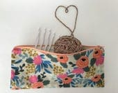 Rosa Flora Zipper Pouch, Pencil Pouch, Pencil Pouch, Make up Bag for an Organized Purse, Backpack, Diaper bag, Woman, Teen, Girl