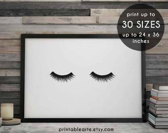 eyelashes print, eyelashes, makeup print, eyelash print, fashion print, printable art, makeup art, beauty print, eyelashes art, wall art, 4