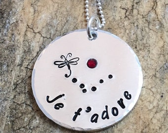 Hand Stamped French Message, Je t'adore, Dragonfly Pendant Necklace