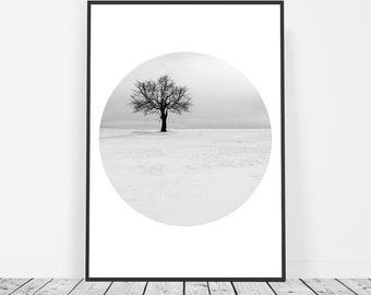 Tree Print, Scandinavian Print, Nature Print, Winter Print, Snow Photography, Black and White, Tree Silhouette, Nordic Affiche Scandinave