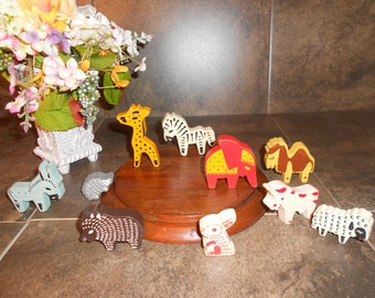 Hand Painted Wooden Animals Set of 10.