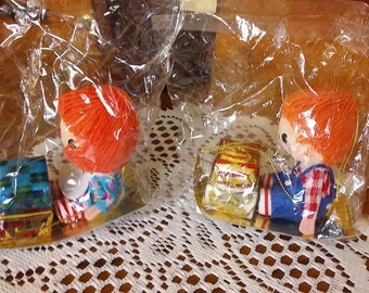 BRAND NEW in PACKAGE...,1973 Raggedy Ann and Andy Ornaments