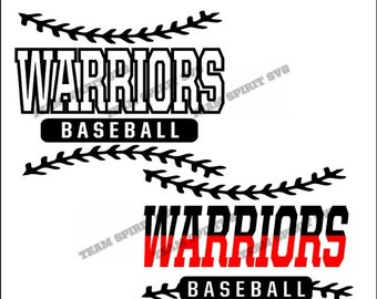 Warriors Baseball Laces Download Files - SVG, DXF, EPS, Silhouette Studio, Vinyl Cut Files, Digital Cut Files -Use with Cricut, Silhouette