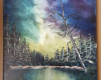 Bob Ross style oil painting The Cosmos